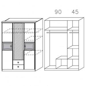 0984 Drehtürenschrank, 3-türig, mit Spiegeltür