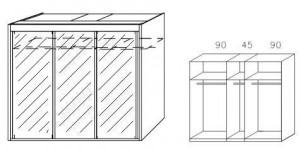 Breite 225 cm-3-türig / Spiegelfront
