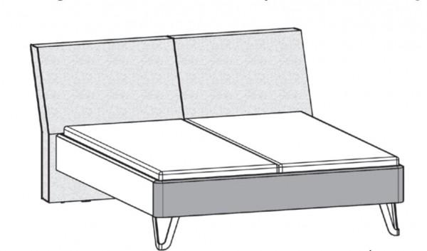 Thielemeyer Feel Liegenbett mit Polsterkopfteil und Designfüßen Metall