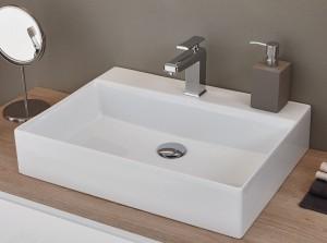 WTM48051 Keramik Aufsatzbecken / weiß / Breite 50 cm / Tiefe 45 cm / Höhe 13 cm