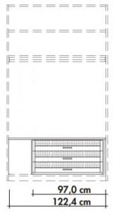 565975 Innenschubkästen für Schwebetürenschränke 565001 und 565018, 3 Stück mit Glaseinsatz inklusive Abdeckboden in Lack weiß, Breite 122,4 cm