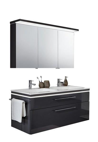 Puris Cool Line 120 cm - Kombination 4 - Spiegelschrank mit Flächenleuchte, Doppelwaschtisch