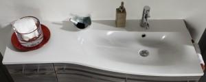 Mineralmarmor Waschtisch - Ablage links / Becken rechts