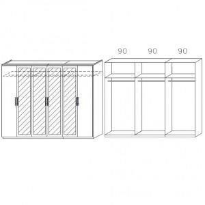 0W62 mit Spiegeltüren, Breite 271 cm - 6-türig