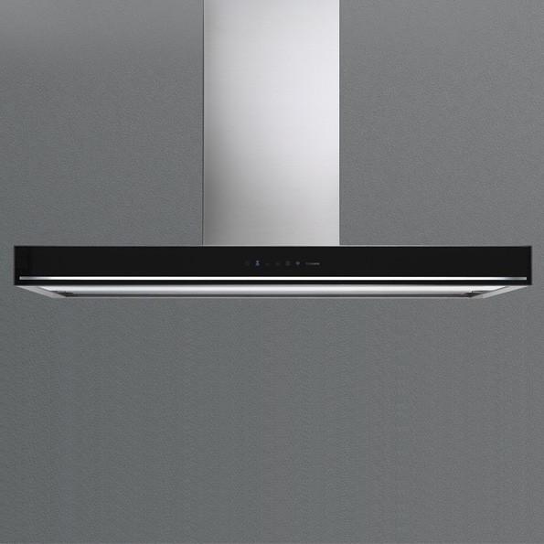 Falmec Blade 90 ED, Design, Wandhaube, 90 cm, Edelstahl / Glas schwarz