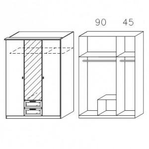 0967 Drehtürenschrank - Breite 136 cm