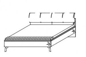 5081 Futonbett mit Polsterkopfteil und Sitzbank / Liegefläche 180x200 cm / Breite 187 cm / Höhe 96 cm / Tiefe 228 cm - BG 37