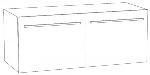 Waschtischunterschrank mit zwei Auszügen - Keramik 120 cm