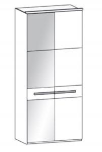 197 - 1 bronzierte Spiegeltür rechts / 1 Holztür links