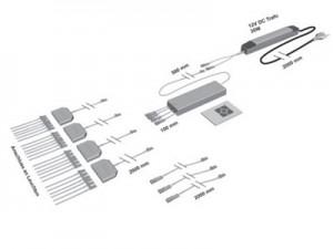 4-Kanal-Funk-Trafo-Schalterset für den Anschluss von bis zu 24 Beleuchtungselementen (max. 30 W) inkl. 4 m Kabel
