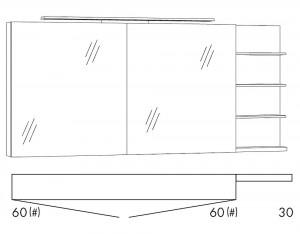 Spiegelschrank 150 cm SFLS66R / SFLS66RLS / SFLZ66R / SFLZ66RLS