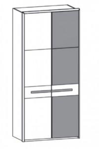 298 - 1 Holztür links / 1 Color-Glastür rechts