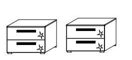 N191 Nachtkommode stehend / 2 Stück / je 2 Schubkästen / Breite 61 cm / Höhe 44 cm / Tiefe 41 cm