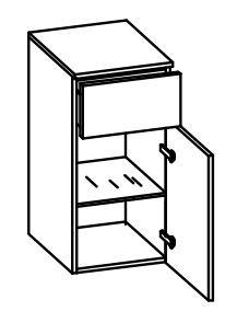 979.013540 Unterschrank / 1 Drehtüre / 1 Schubkasten / 1 Einlegeboden / inklusive Türdämpfer