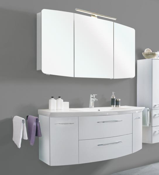 Aquarell Badmöbelset Weiß 120 cm breit - Waschtisch, Waschtischunterschrank, Spiegelschrank