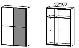 4971 Schwebetürenschrank / 2-türig - Breite 151 cm / Höhe 223 cm / Tiefe 69 cm