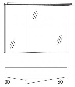 Spiegelschrank 90 cm SOBS36 (Lichtfarbe ca. 6500 Kelvin)