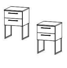 64C1 Nachttisch mit Kufe - 2 Stück / zerlegt / Breite 40 cm / Höhe 60 cm / Tiefe 42 cm