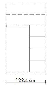 565804 T-Einteilungs-Set für Schwebetürenschränke 565001 und 565018, bestehend aus Mittelseite, 3 Einlegeböden und Kleiderstange, Breite 122,4 cm