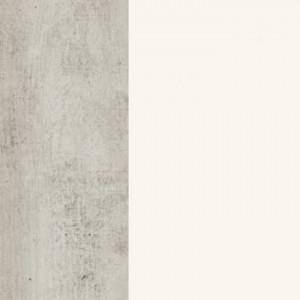 Korpus MDF betonfarbig lackiert / Schubladenfront massiv Buche weiß deckend lackiert