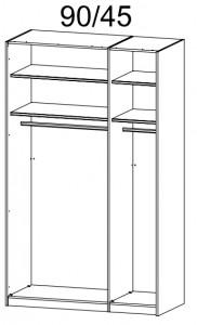 45S5 Schwebetürenschrank Dekor-/Hochglanzfront - Breite 136 cm
