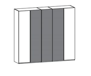 5-türiger Kleiderschrank mit 2 Holztüren außen und 3 Glastüren mittig