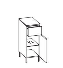 312.013040 Unterschrank / 1 Drehtüre / 1 Schubkasten / 1 Einlgeboden / Abdeckplatte / 4 Füße Chrom Glanz