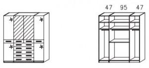 1054 Funktionsscrhank / 4 -türig / 2 Spiegeltüren mittig / Außentüren Hochglanz creme / Breite 189 cm / Höhe 214 cm / Tiefe 58 cm