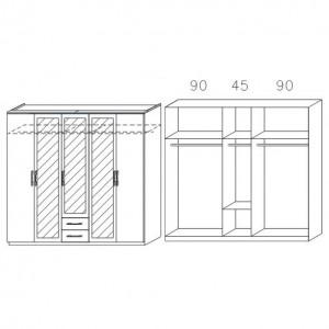 086B mit Spiegeltüren und Schubkästen, Breite 226 cm - 5-türig