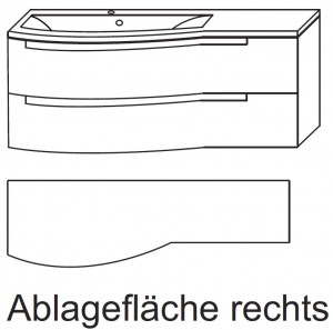 Waschplatz SETP212R - Ablagefläche rechts
