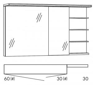 Spiegelschrank 120 cm SOBS63R / SOBS63RLS