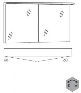 Spiegelschrank 120 cm SSAOZ66L (Lichfarbe ca. 3000 - 6500 Kelvin)