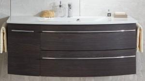 Waschtischunterschrank mit einer Tür (links) und zwei Auszügen