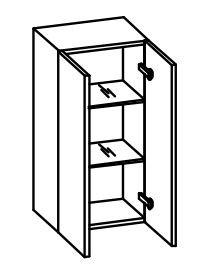 979.013530 Wandschrank / 2 Drehtüren / 2 Einlegeböden / inklusive Türdämpfer / Breite 35 cm / Höhe 70 cm / Tiefe 20 cm