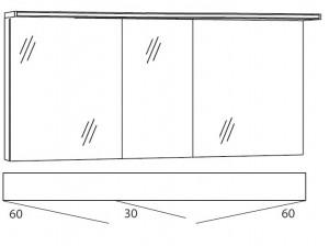 Spiegelschrank 150 cm SSAOS636 (Lichtfarbe ca. 4500 Kelvin)