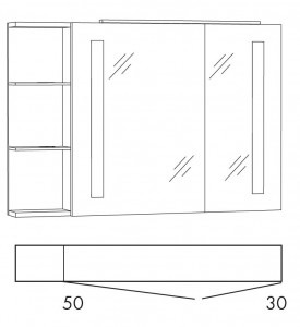 Spiegelschrank 100 cm SFLSR10L