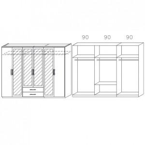 0W63 mit Spiegeltüren und Schubkästen, Breite 271 cm - 6-türig
