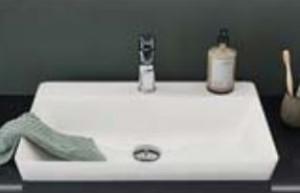 Waschtisch Mineralguss - Breite 49 cm /  inkl.Permanentablauf / inkl. Hahnlochbohrung