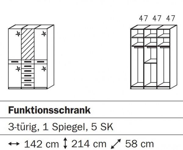 Rauch Steffen Misao Funktionsschrank / Türen mit Spiegeln und Hochglanz 1053