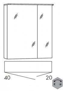 Spiegelschrank 60 cm SSAOZ42 (Lichtfarbe ca. 3000 - 6500 Kelvin regelbar)