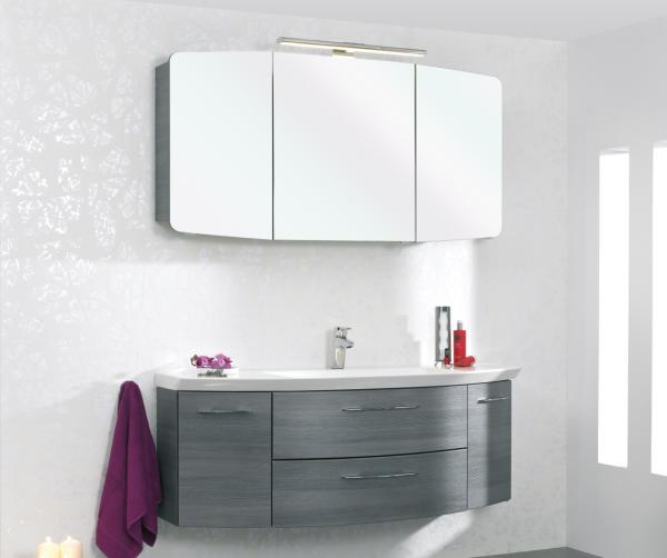 Aquarell Badmöbelset Graphit 120 cm breit - Waschtisch, Waschtischunterschrank, Spiegelschrank
