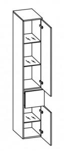 378.013029 Hochschrank / 1 großer Schubkasten / 2 Drehtüren / 3 Glaseinlegeböden / inklusive Türdämpfer