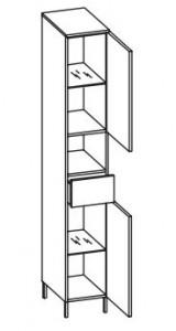 312.013029 Hochschrank / 2 Drehtüren / 1 Nische / 1 Schubkasten / 2 Einlegeböden / 4 Füße Chrom Glanz