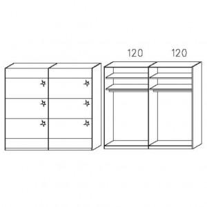 SW32 Schwebetürenschrank - Absetzung in Hochglanz - Breite: 239 cm