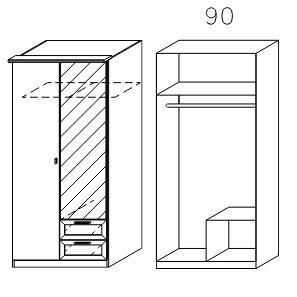 0966 Drehtürenschrank - Breite 91 cm