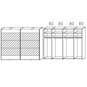 SW05 Schwebetürenschrank - Absetzung in Spiegel - Breite: 280 cm