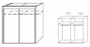 Breite 201 cm-2-türig / Holzdekor/Hochglanz