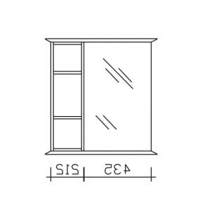9030-SPS 03-R  = Spiegeltüre rechts / Regal links