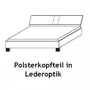 Futonbett - Polsterkopfteil in Lederoptik
