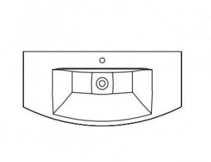 MMWTR 64-1090 Mineralmarmorwaschtisch / weiß / mit Armaturbohrung inklusive Clou-System / Breite 109 cm / Höhe 5 cm / Tiefe 50,5 cm